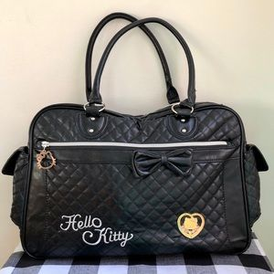 Hello Kitty Black Quilted Tote With Shoulder Strap